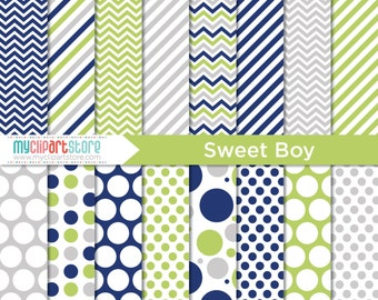 Papier numérique - garçon doux, bleu marine, vert anis, garçon d'anniversaire, papier de scrapbooking, tutoriel, utilisation commerciale, JPEG, PDF