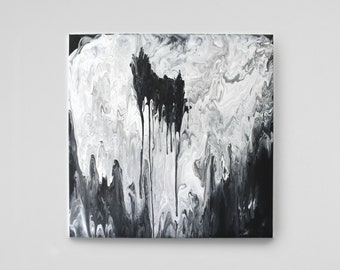 The hole-abstract art on canvas/acrylic painting with water/fluid acrylic painting/black and white black & white