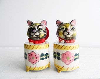 Vintage Kitschy Ceramic Cat Salt & Pepper Shakers