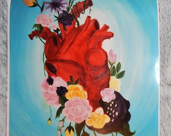 Floral Anatomical Heart Print