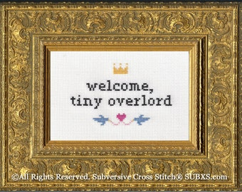 Subversive Cross Stitch PDF pattern: Welcome, Tiny Overlord