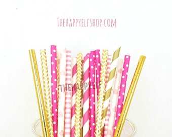 Bride Tribe straws. Bride straws. Bachelorette straws. Bride tribe party. Bride decor. Bachelorette decor. pink and gold straws. hot pink