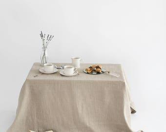 Natural Linen Tablecloth.  Softened Linen Tablecloth. Rustic Linen Tablecloths.