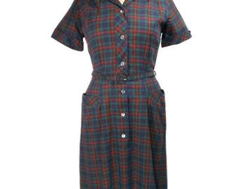 vintage 1950s plaid shirtdress / Anne Garson / cotton / 1950s dress / day dress / belted collared dress / women's vintage dress / size 14