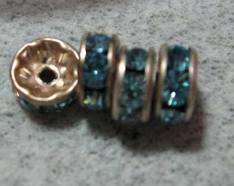 Vintage Light Sapphire Rhinestone Antique Silver Rondelles 7mm Qty - 5 RARE LAST ONES