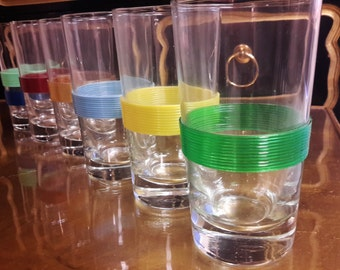 Superior Mid Century Barware Glasses Libbey Glass Color Banded Hiball Glass Colorful  Retro Vibe SET OF 6
