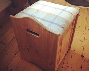 Reupolstered Pine Seated Box