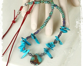 Turquoise necklace for women, Southwest necklace, December birthstone, Bohemian statement jewelry,