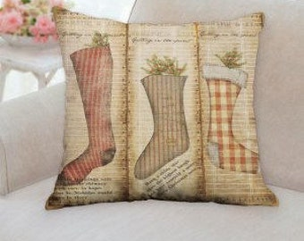 Three Stockings Christmas Pillow