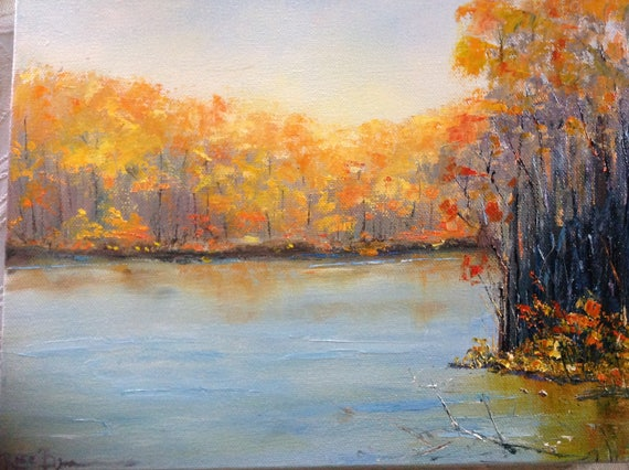Orange Fall Trees, Landscape Painting, Vacation Painting,  Fall Colors painting
