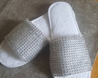 Rhinestone bride slippers. Comfy bling. Made by a work  from home veteran.