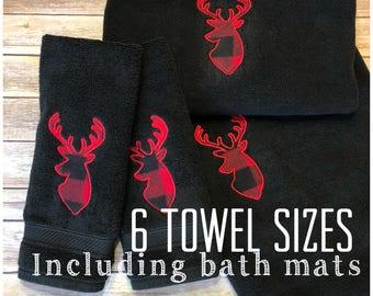 Buffalo Check, buffalo plaid, hand towels, bath towels, lumberjack, flannel, buffalo check towel, bathroom, red plaid, plaid, deer, bath