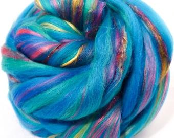 So Sari Blend -Aqua-  Merino/ Sari Silk / Silk/ Bamboo (50/25/15/10 )  (4 oz. )