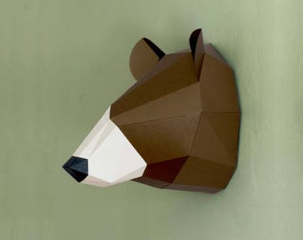 Bear paper trophy | PDF template | Woodland decor | 3d Papercraft Wall art | Hanging Home Decor | Bear sculpture | printable low poly trophy