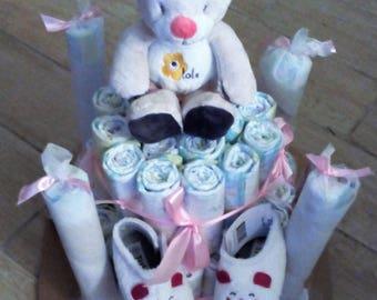 Diaper cake baby girl pink Teddy bear
