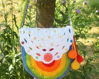 CROCHET PATTERN - crochet purse pattern - crochet bag - Sparkling rainbow purse, girly purse, diy, PDF