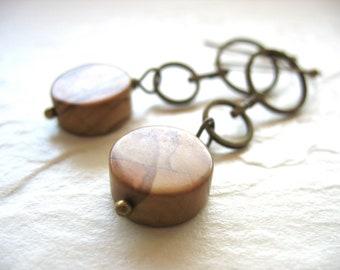 Jasper Earrings, Brown Jasper Hoop Dangle Drop Earrings, Handmade Stone Hoop Earrings, Stone Earrings, Jasper Jewelry, Made in the USA