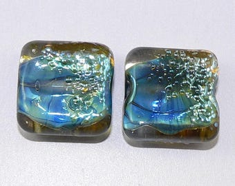 Handmade Lampwork beads Earring Pair Abalone Blue Silver Glass SRA