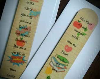 Thank you teacher personalised wooden bookmark gift card