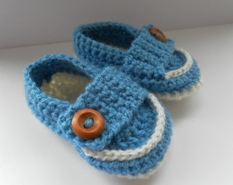 Blue baby loafers, crochet baby loafers, crochet baby booties, crochet baby shoes, baby summer shoes, boy baby shoes, baby slippers,