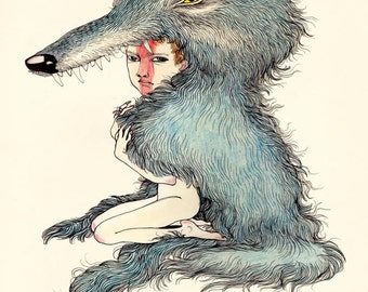 Wolf Boy Art Illustration Print