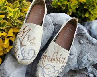 Custom Hand Painted Bridal Elegant Swirls TOMS Shoes *Free Shipping in US* Wedding | Bridal | Rhinestones | Personalized | Wedding Gift