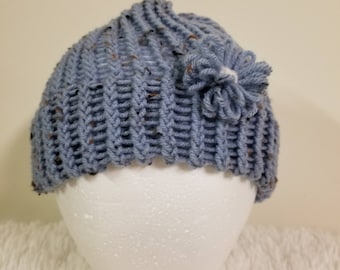 Handmade, knit, knitted, blue, hat