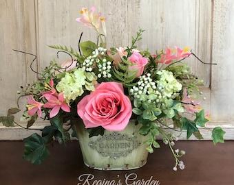SPRING Floral Arrangement-Easter Decor-Floral Centerpiece-French Country Decor-Farmhouse Decor-Cottage Chic-Housewarming Gift-Home Decor