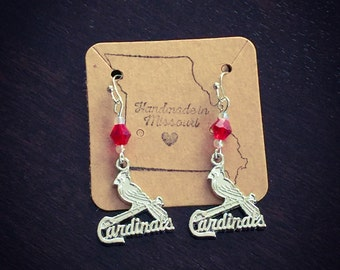 Silver cardinals earrings