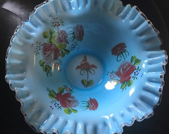 Early Fenton Silver Crest Art Glass Bride Bowl