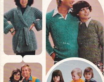 ON SALE Patons Knitting Pattern Family Cottage Knit  Vintage 1970's No 473