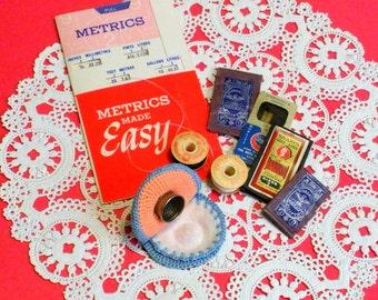 Sewing Notions - Lot - Vintage Crochet Hat Thimble Case, Needles, Metric Gauge, Thread Assortment