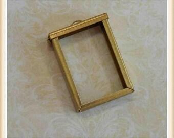 1 frame, flip top, raw brass, altered art, charm, photo keepsake #3949