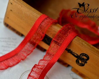 Ribbon trim lace red gas RUCHED TULLE elastic RUFFLED seam 19mm