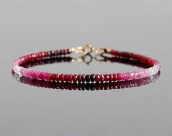 Ombre Ruby Bracelet - Ruby Bracelet, Ruby Beaded Bracelet, Natural Ruby Jewelry, July Birthstone, July Birthstone Jewelry
