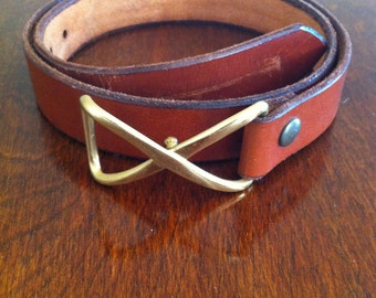 Vintage leather belt with brass buckle