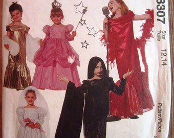 Girls Dress Up Costumes: Bride, Fairy, Performer Sizes 12-14 McCalls Costumes Pattern 8307 UNCUT Vintage 1990s