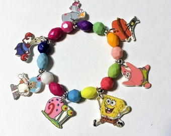 Spongebob Squarepants Charm Bracelet, Spongebob Bracelet, Spongebob Birthday Party Favor, Spongebob Jewelry