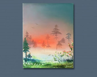 30х40 Sunrise Forest landscape High Quality Original oil painting On Canvas Hand painted Fog in the forest Romantic gift