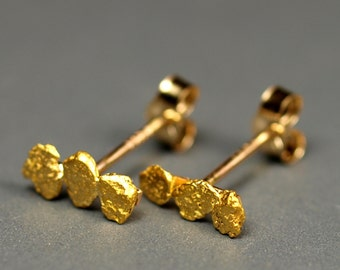 Triple California Gold Nugget Stud Earrings - Natural Genuine Gold Nuggets - Real Natural Gold