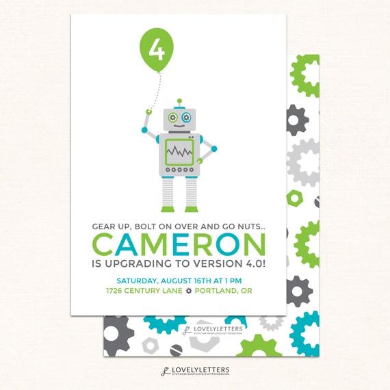 Robot birthday invitations robot invitation modern robot filmwisefo