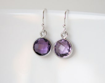 Amethyst earrings - sterling silver and purple gemstone round bezel drop earrings - february birthstone - simple luxe jewelry - Pixie