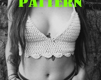 PATTERN: Racerback Scalloped Hippie Bohemian Crop Top - Small Medium Large