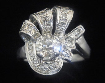 Old Hollywood Glamour 1.2ct Diamonds 14k White Gold Ring Vintage Mid Century LAYAWAY AVAILABLE