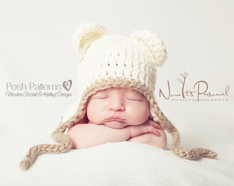 Crochet PATTERN - Baby Crochet Pattern - Baby Shower Gift - Crochet Hat Pattern - Crochet Baby Hat - Crochet Bear Hat - 5 Sizes - PDF 186
