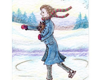 Cairn Terrier dog 8x10 print - hitching a lift from ice skater figure skating ratter skater snowy landscape from Susan Alison w/c painting