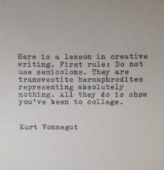 Kurt Vonnegut Writing Hand Typed Typewriter Quote