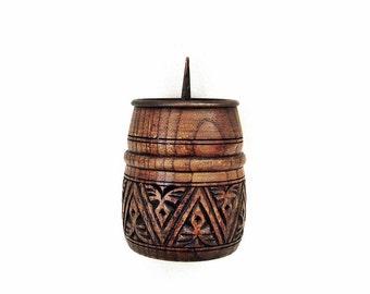 Vintage wooden candle holder Hand carved candlestick