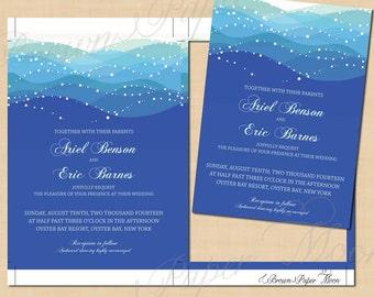 Blue Ocean Waves Invitations, Destination Beach Wedding (5x7): Text-Editable, Printable, Instant Download