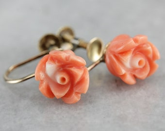 Vintage Carved Coral Earrings, Coral Rose Earrings, Screw Back Earrings, Non-Pierced Earrings P2KT9VYT-C
